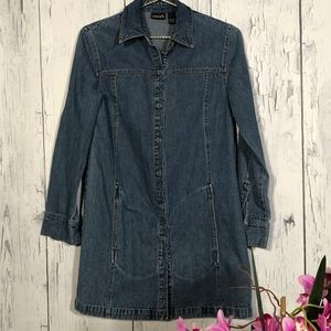 Chico's Ligth Blue Denim Long Jacket Sz 0 EUC